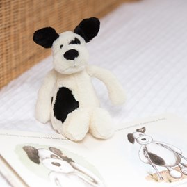 Jellycat Bashful Black & Cream Puppy Small Soft Toy