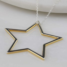 Sterling Silver And 18ct Gold Edged Necklace Star