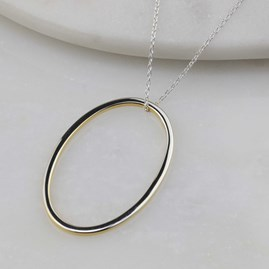 Sterling Silver And 18ct Gold Edged Necklace Oval