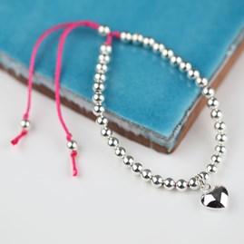 Silver Heart And Bead Friendship Bracelet