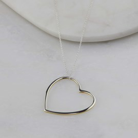 Sterling Silver And 18ct Gold Edged Necklace Heart