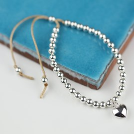 Silver Heart And Bead Friendship Bracelet