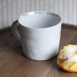 White Porcelain Mug With Gold Lettering