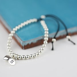 Personalised Silver Heart And Bead Friendship Bracelet