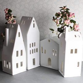 Porcelain Tea Light Holder House