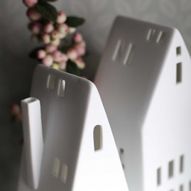 Porcelain Tall Tea Light Holder House
