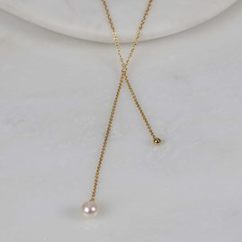 Double Drop Pearl And Bead Necklace Gold