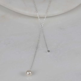 Double Drop Pearl And Bead Necklace Silver