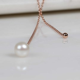 Double Drop Pearl And Bead Necklace Rose Gold