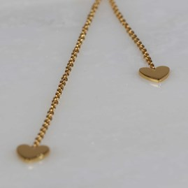 Double Drop Falling Hearts Necklace Gold