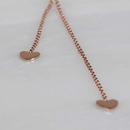 Double Drop Falling Hearts Necklace Rose Gold