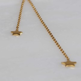 Double Drop Falling Stars Necklace Gold