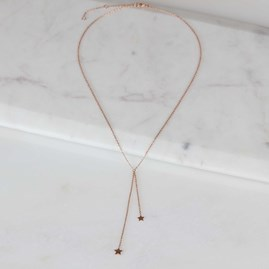Double Drop Falling Stars Necklace Rose Gold