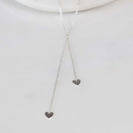 Double Drop Falling Hearts Necklace Silver