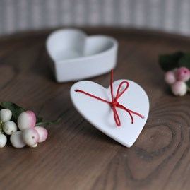 Delicate Porcelain Heart Dish With Red Cord