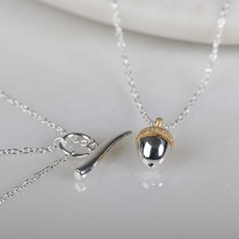 Stunning Silver Or 18ct Rose Gold Acorn Necklace