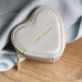 Heart Shaped Silver Metallic Jewellery Box