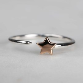 Solid Silver And 14ct Rose Gold Charm Rings Star