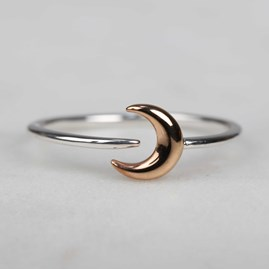 Solid Silver And 14ct Rose Gold Charm Rings Moon