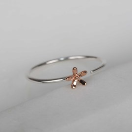 Solid Silver And 14ct Rose Gold Charm Rings Flower