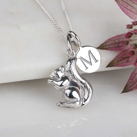 Personalised Squirrel Necklace Silver
