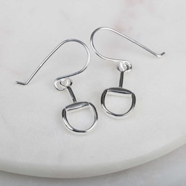Solid Silver Snaffle Earrings With Gold Detail