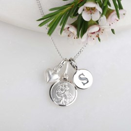 Personalised St. Christopher And Silver Heart Necklace