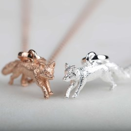 Stunning Silver And Rose Gold Fox Pendant