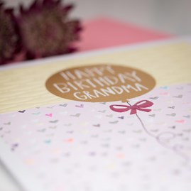 'Happy Birthday Grandma - Balloon'  Greetings Card