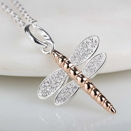 Solid Silver And 14ct Rose Gold Dragonfly Pendant