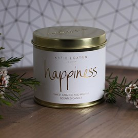 'Happiness' Round Tin Candle