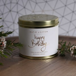 'Happy Birthday' Round Tin Candle