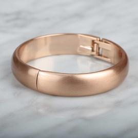 Round Edge Brushed Silver Or Rose Gold Bangle