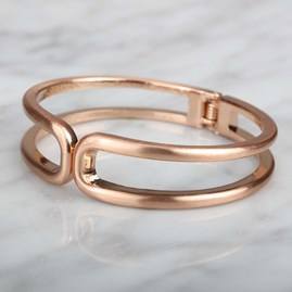 Textured Silver Or Rose Gold Double Row Cuff Bangle
