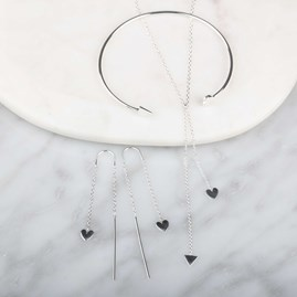 Cupid Drop Necklace In Solid Silver