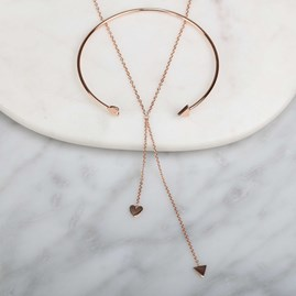 Cupid Drop Necklace In Solid Silver, Gold Or Rose Gold