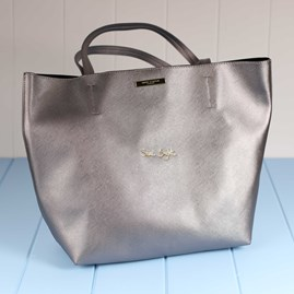 'Shine Bright' Metallic Charcoal Parker Shopper Bag