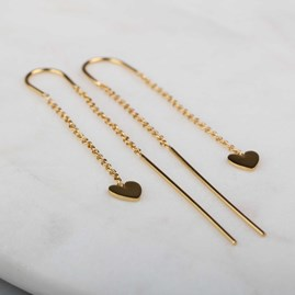Cupid Drop Earrings In Solid Silver Or Gold