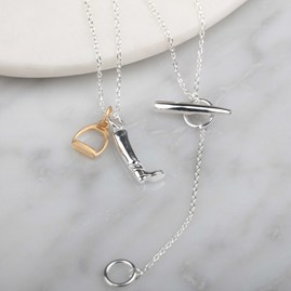 Silver Riding Boot And Gold Stirrup Equestrian Necklace