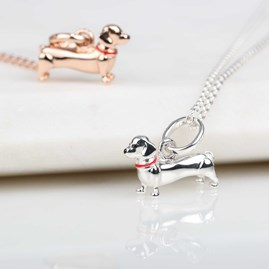 Silver Or Rose Gold Dachshund Pendant