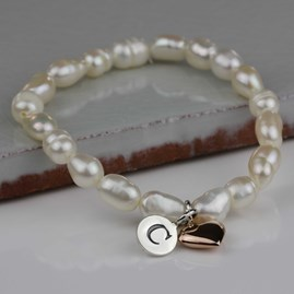 Personalised Children's Pearl And Heart Bracelet