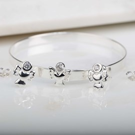 Children's Solid Silver And Crystal Angel Bangle