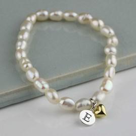 Personalised Freshwater Pearl Heart Bracelet