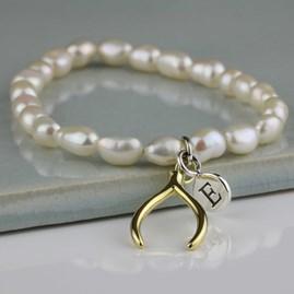 Personalised Freshwater Pearl Lucky Wishbone Bracelet