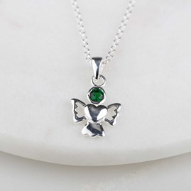 Children's Solid Silver Angel Birthstone Necklace