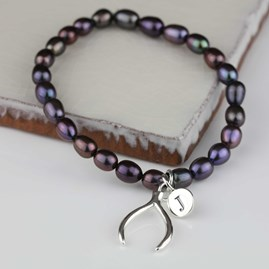 Personalised Black Pearl Wishbone Charm Bracelet