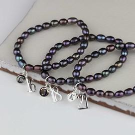 Personalised Black Pearl Birthday Charm Bracelet