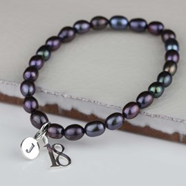 Personalised Black Pearl Birthday Charm Bracelet