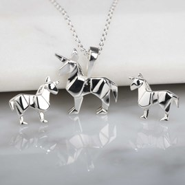 Stunning Silver Origami Unicorn Earrings