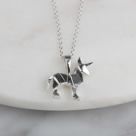 Stunning Silver Origami Unicorn Necklace
